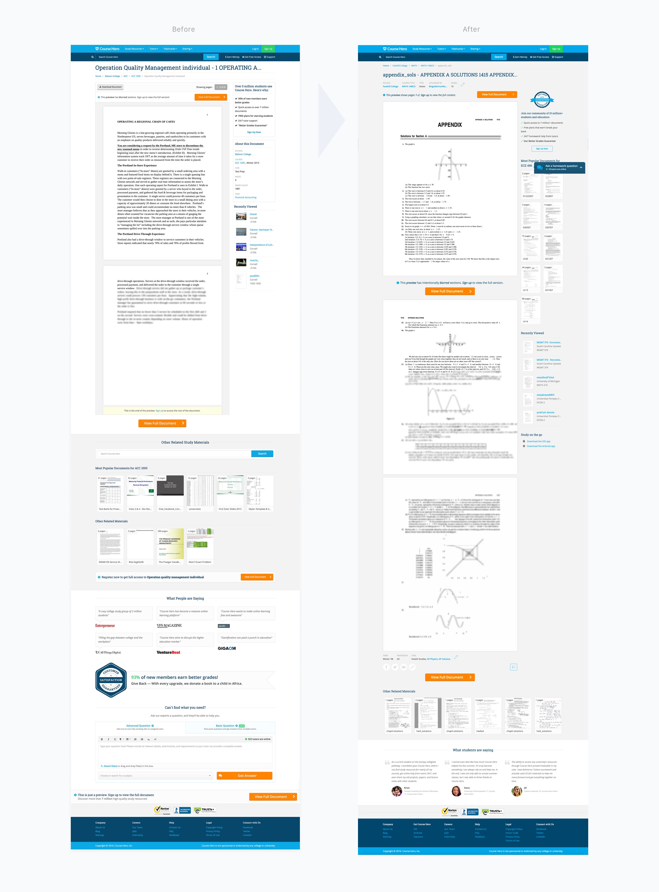 Document Landing Page Redesign